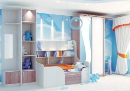 Шкаф купе со стеллажом в детскую