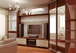 Модульная мебель со шкафом купе для гостиной