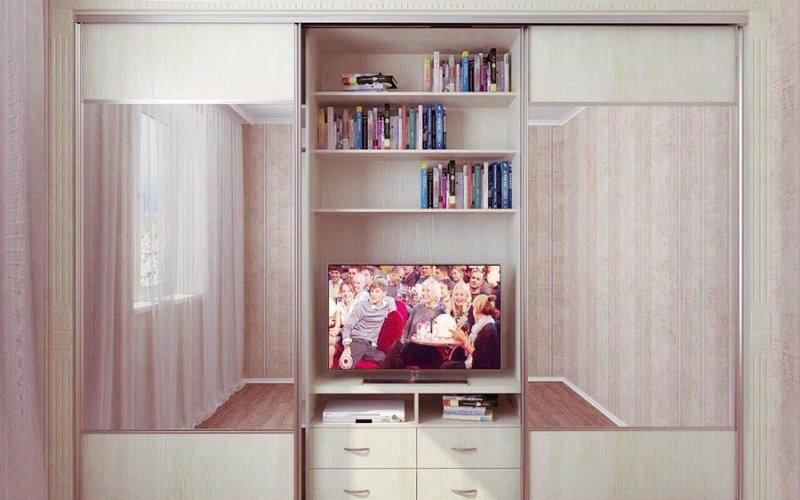 Гостиные шкафы купе с нишей под телевизор