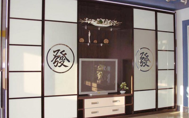 Шкаф купе со встроенным телевизором