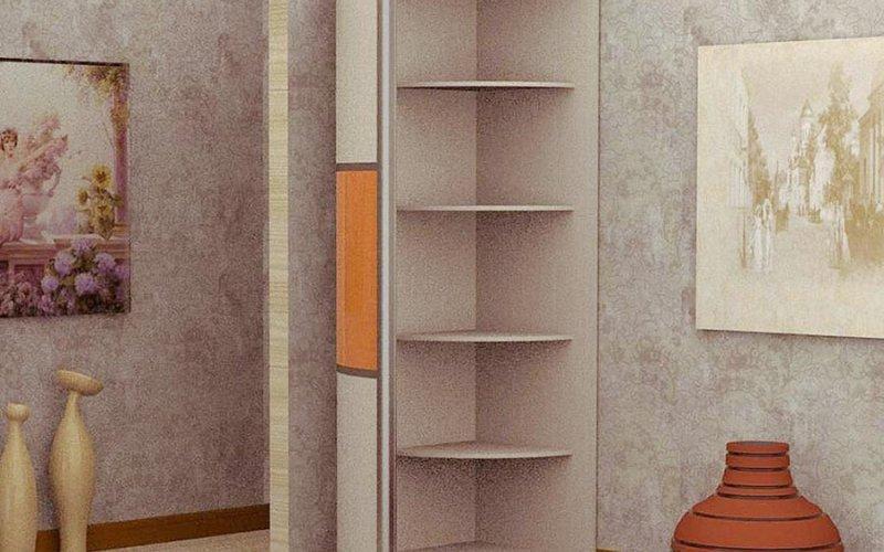 Шкаф купе с закругленными полками