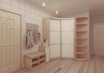 Белый радиусный шкаф купе
