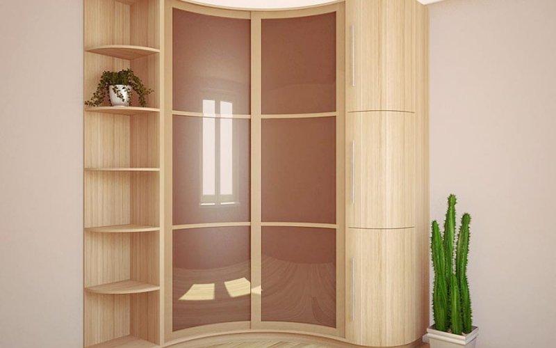 Асимметричный радиусный шкаф купе