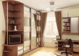 Шкаф купе с полками для книг сбоку