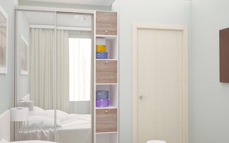 Белый шкаф купе с зеркальными дверями