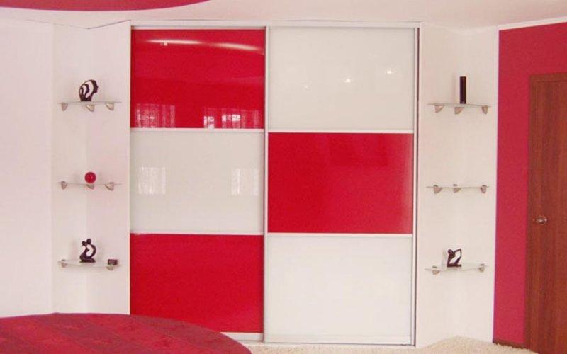 Шкаф купе бело красный