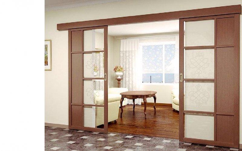 Раздвижные комбинированные двери перегородки