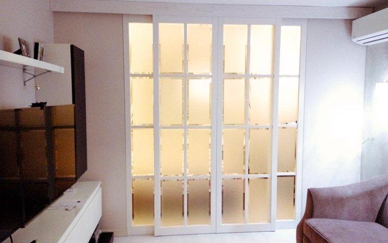 Откатные стеклянные перегородки