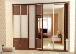 Двери для встроенного шкафа распашные с зеркалом