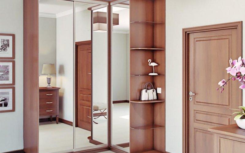 Угловой шкаф купе венге с зеркалом