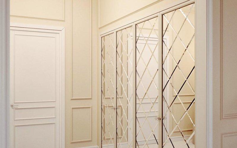 Зеркальный дверь фацетом для шкафа купе