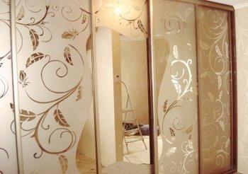 Двери купе матовое стекло с рисунком