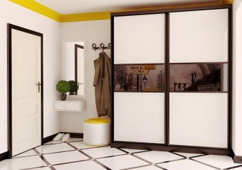 Белый шкаф купе с черным стеклом