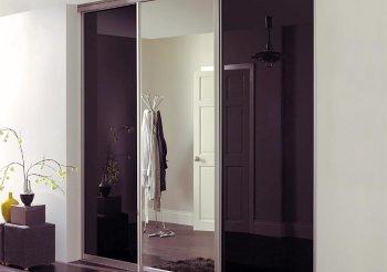 Шкафы купе с черным стеклом и зеркалом