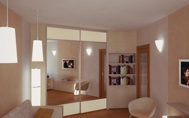 Зеркальный шкаф купе с двумя дверями