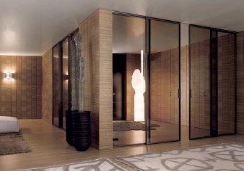 Стеклянные перегородки для зонирования пространства в комнате
