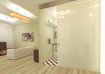 Раздвижная дверь вдоль стены